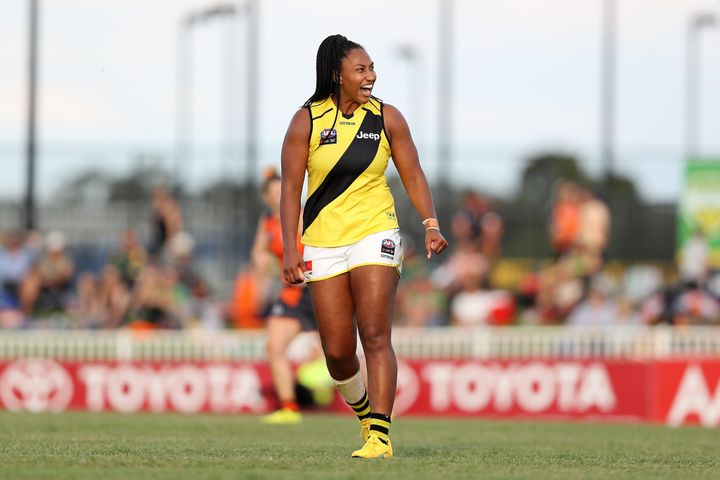 Sabrina Frederick in action for the Richmond Tigers missed a shot on goal during the round five AFLW match against Greater Western Sydney Giants at Robertson Oval on March 07, 2020 in Wagga Wagga.