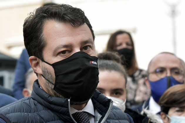 ROME, ITALY - OCTOBER 14: Matteo Salvini, wearing a mask with a logo that reads 'I Love the Police',...