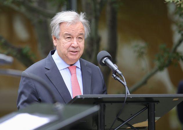 António Guterres no escritório da ONU, em setembro de
