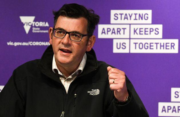 Australia's Victoria state Premier Daniel Andrews speaks during a press conference in Melbourne on October...