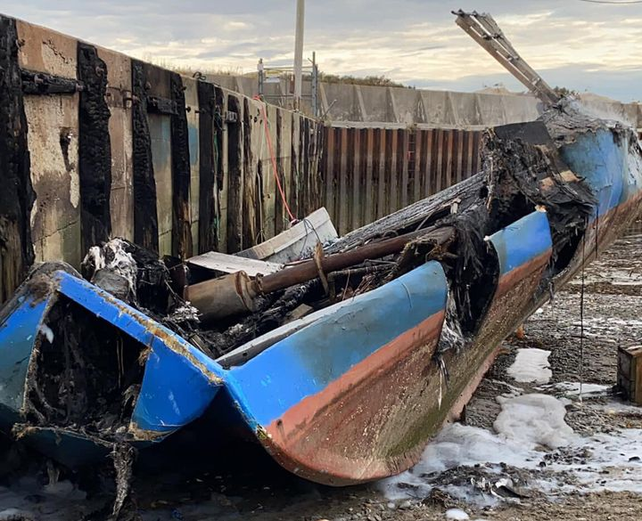 Robert Syliboy's lobster fishing boat is shown after being destroyed by a fire in this Oct. 5, 2020 handout photo.
