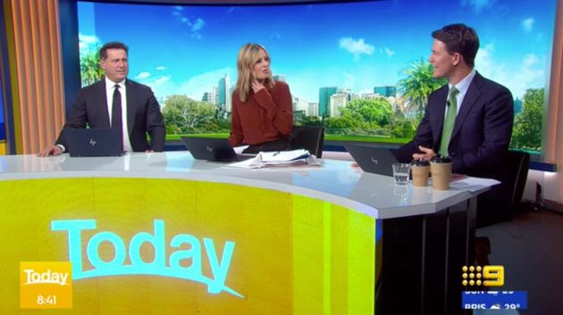 'Today' show hosts Karl Stefanovic and Allison Langdon ask presenter Alex Cullen about his croaky voice...