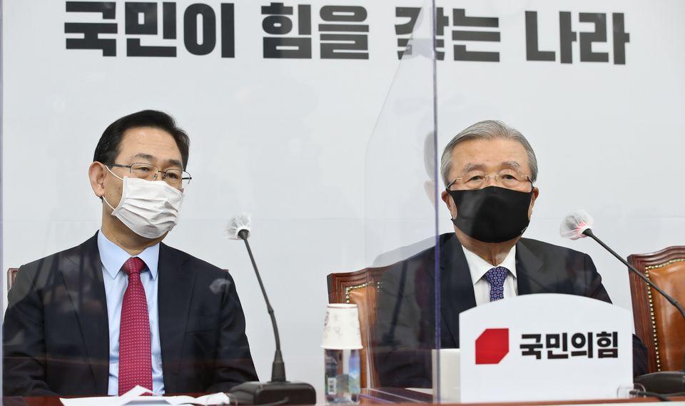 김종인 국민의힘 비대위원장이 19일 오전 서울 여의도 국회에서 열린 비상대책위원회에서 모두발언을 하고