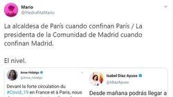 Triunfa al comparar la reacción de Ayuso con la de la alcaldesa de París tras las restricciones del Gobierno por el