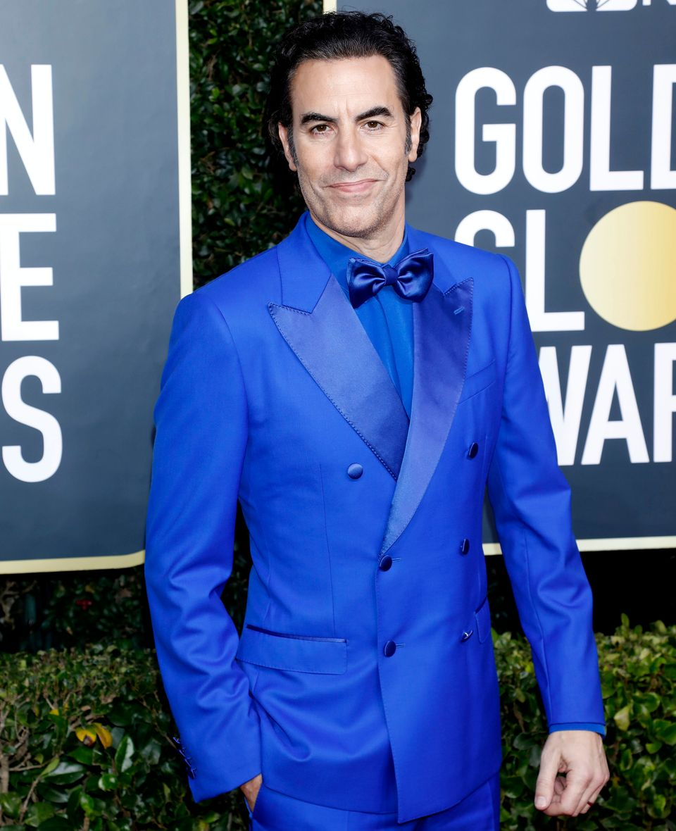 Sacha Baron Cohen photographed on the red carpet of the 77th Annual Golden Globe Awards in January 2020