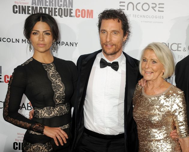 Matthew McConaughey with his wife Camila Alves and mother Kay McConaughey in