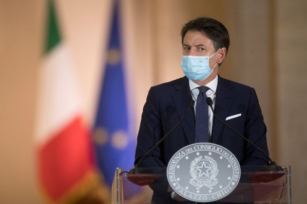 ROME, ITALY - OCTOBER 18: Italy's Prime Minister Giuseppe Conte announces new safety measures following...