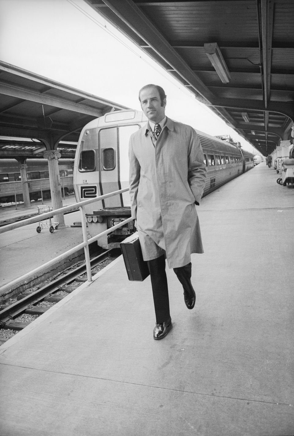 Joe Biden leaving work at the Senate from Union Station in Washington, D.C., in 1972.