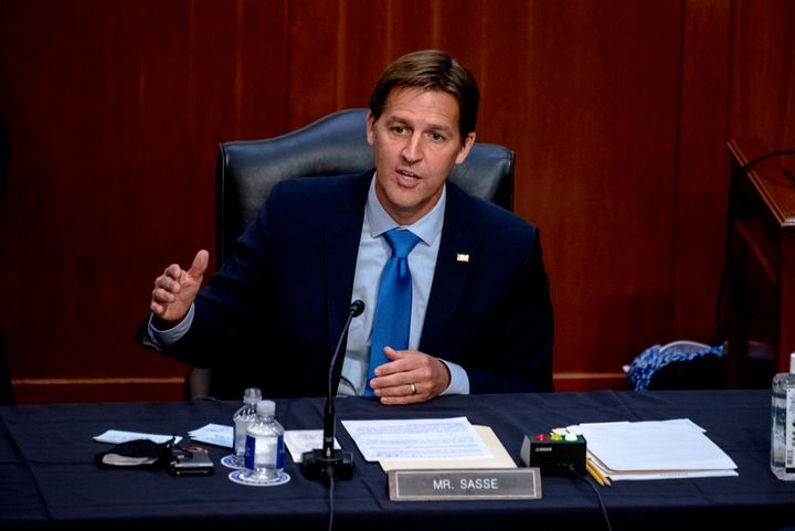 Sen. Ben Sasse (R-Neb) speaks during the confirmation hearing for Supreme Court nominee Amy Coney Barrett. Sasse has been cri