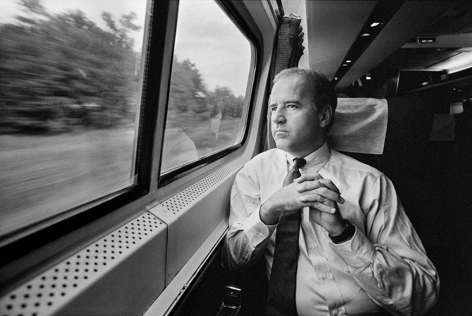 Joe Biden on the metro liner in September 1988.