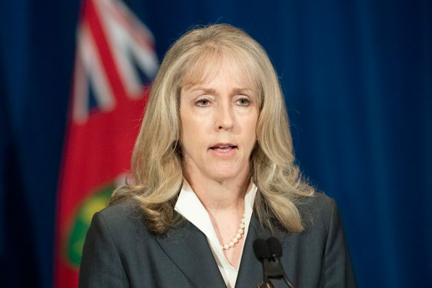 Ontario Minister of Long-Term Care Merrilee Fullerton answers questions during the daily briefing at...