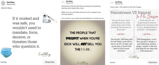 Alternative medicine company Earthley has continued to run anti-vaccine ads on Facebook without issue,...