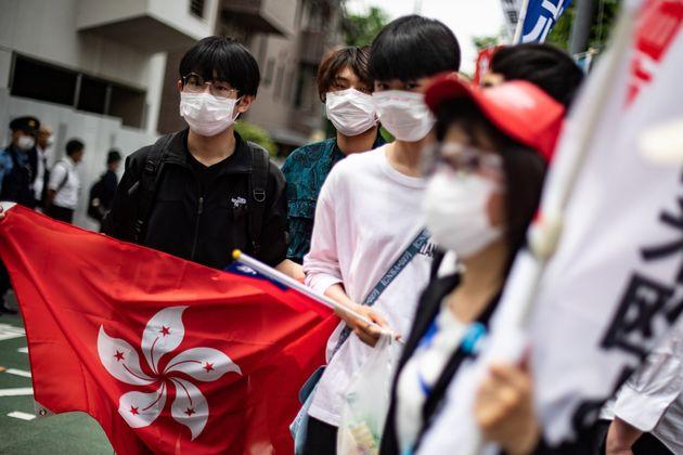 日本でも香港の民主化を訴える運動があった=2020年6月