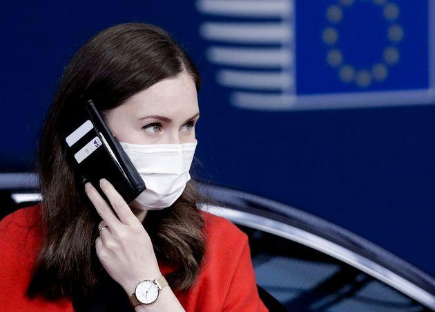 Sanna Marin, el 16 de octubre, llegando al Consejo Europeo en