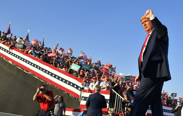 President Donald Trump departs following a rally at Tucson International Airport in Tucson, Arizona on Oct. 19, 2020.