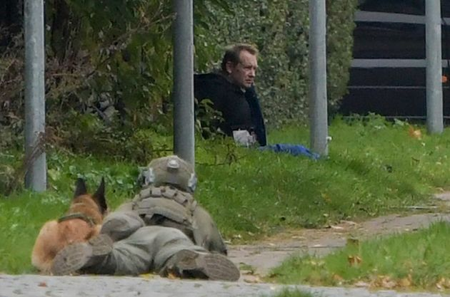 A police marksman and his dog observe the reported escapee