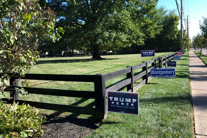 Signs in support of President Donald Trump and other Republican candidates on a lawn of a suburban Dublin, Ohio, home on on S