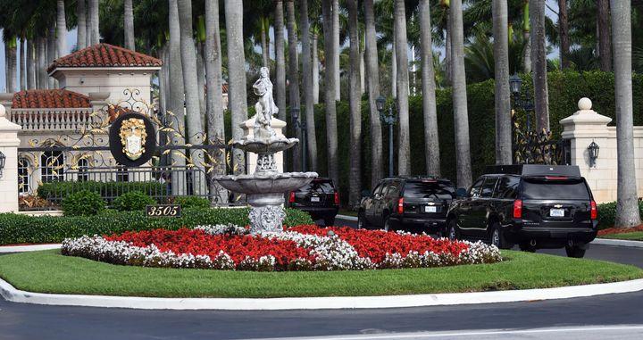President Trump's motorcade arrives at the Trump International Golf Course in West Palm Beach, Fla., on Dec. 29, 2019.