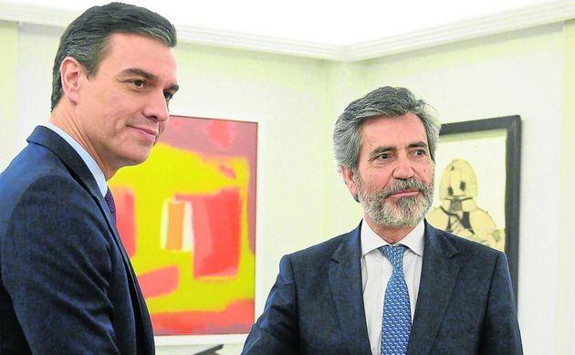 El presidente del Gobierno, Pedro Sánchez y el presidente del CGPJ Carlos