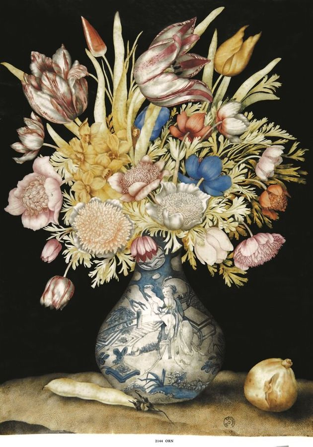 Vaso cinese con tulipani, anemoni e giunchiglie, con fico e