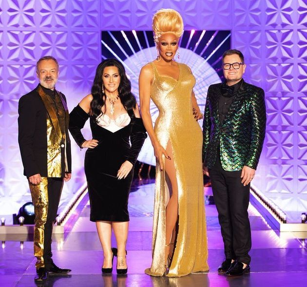 Alan Carr (right) with his fellow RuPaul's Drag Race UK