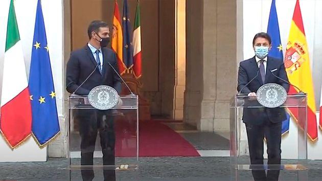 El presidente del Gobierno Pedro Sánchez y el primer ministro italiano Giuseppe