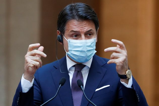 Italian Prime Minister Giuseppe Conte speaks during a joint news conference with Spain's Prime Minister...