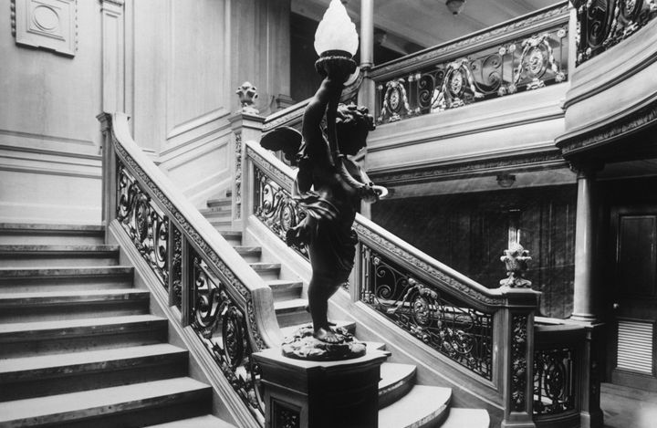 The Aft First Class staircase leading to the a la carte restaurant on the RMS Titanic.