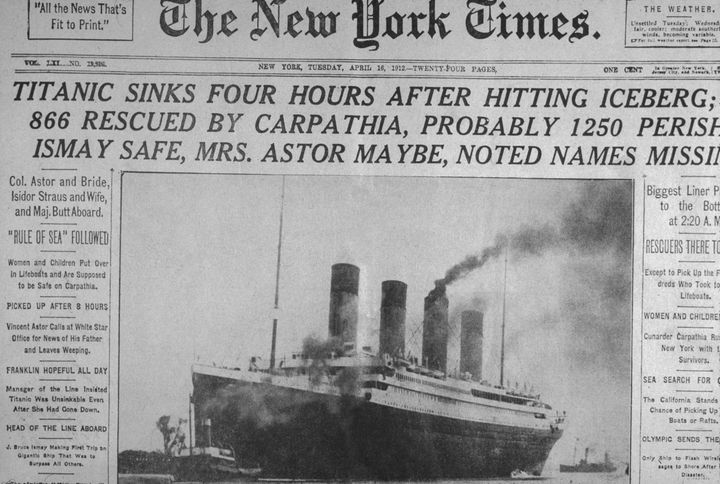 16th April 1912: Front page of The New York Times newspaper with headlines announcing the sinking of the 'Titanic' ocean line