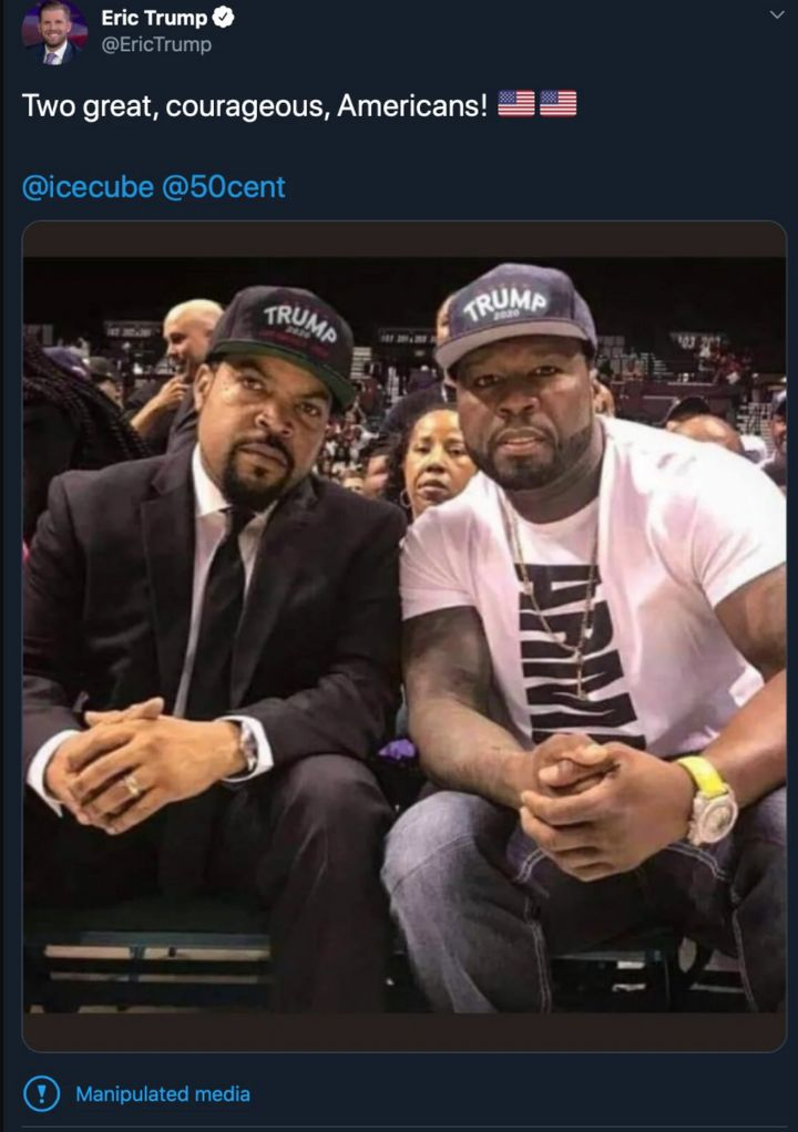 "Eric Trump posted a fake photo showing Ice Cube and fellow rapper 50 Cent wearing ""Trump 2020"" hats on Tuesday."