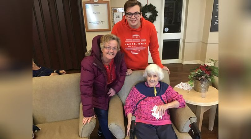 Charlie Senack, his mother and grandmother at Carlingview