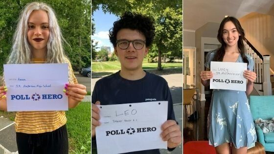 Poll Hero volunteers Anaya Tennant, Leo Kamin and Lucy Duckworth aren't old enough to vote, but they can help scout potential poll workers on social media.