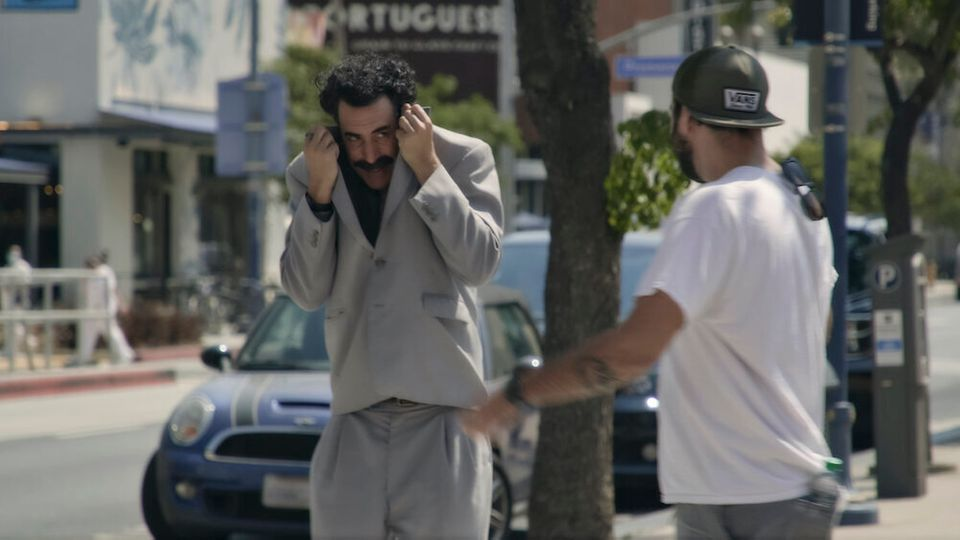 Sacha Baron Cohen as Borat in another newly released still from the movie