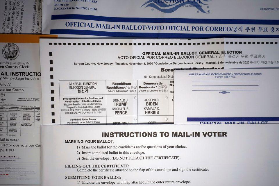 뉴저지주의 우편투표용지. 뉴저지주는 이번 선거에서 처음으로 우편투표를