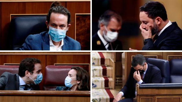 Pablo Iglesias, Santiago Abascal, Teodoro García Egea, Cuca Gamarra y Pedro
