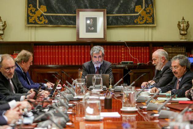 Carlos Lesmes preside un plenario del CGPJ, en Madrid, el pasado