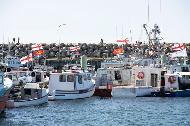 Indigenous fishing boats are seen in Saulnierville, N.S., on Sept. 20, 2020. The federally regulated...