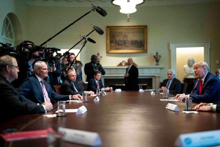 President Donald Trump speaks during a roundtable meeting with energy sector CEOs at the White House on April 3. U.S. oil com