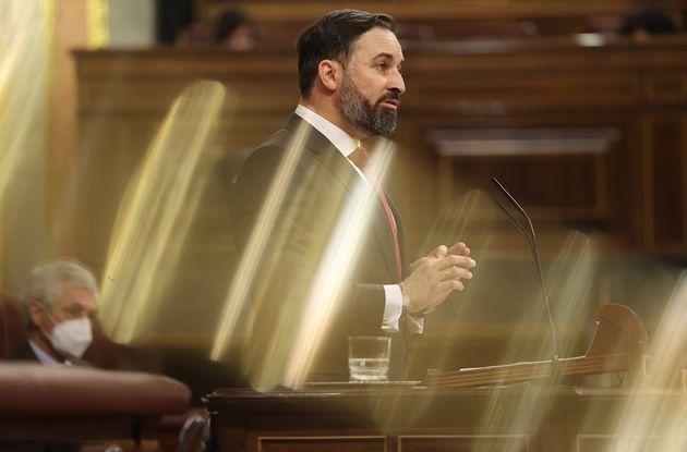 El líder de Vox, Santiago Abascal, este miércoles en el Congreso, durante la presentación...