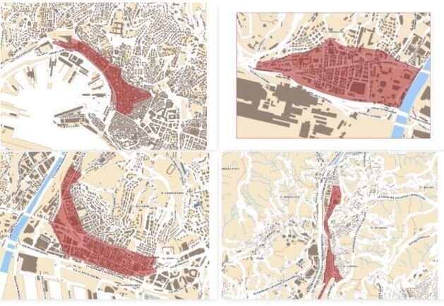 Mappa delle quattro zone di Genova dove sotto osservazione per la diffusione del