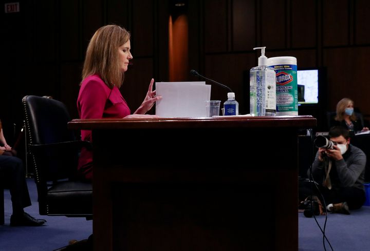 Supreme Court nominee Amy Coney Barrett delivers her opening statement before the Senate Judiciary Committee in Washington on