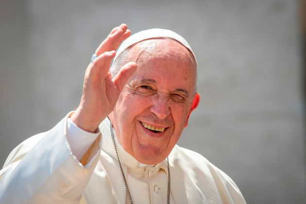 Pope Francis arrives for his weekly general audience in St. Peter's Square at the Vatican. (Photo by:...