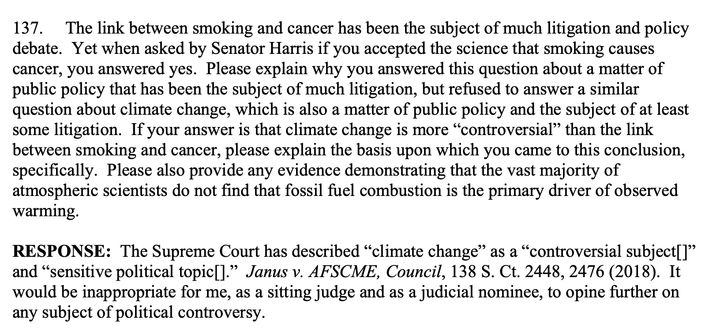 """Amy Coney Barrett cited climate change as a """"controversial subject"""" and """"sensitive political topic"""" in her refusal to say whe"""