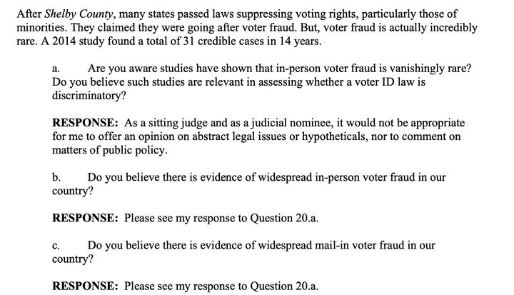 """Barrett said it """"it would not be appropriate for me to offer an opinion"""" on whether in-person voter fraud is rare, as studies"""