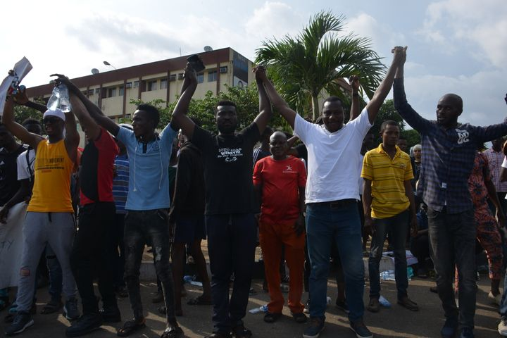 Protesters march at Alausa Secretariat in Ikeja, Lagos State, during a peaceful demonstration against police brutality in Nig