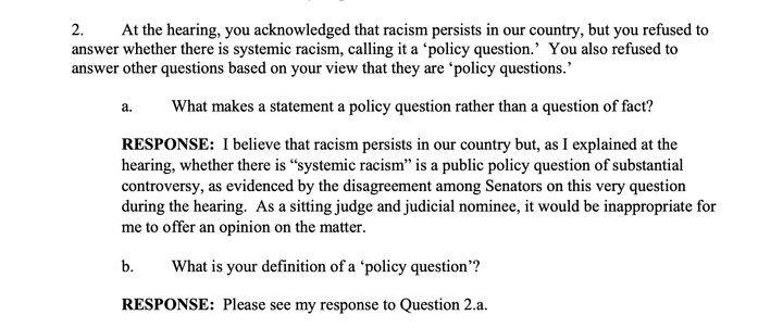 """Barrett said the existence of systemic racism is """"a public policy question of substantial controversy"""" rather than affirming"""