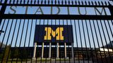 The University of Michigan football stadium is shown in Ann Arbor, Mich., Thursday, Aug. 13, 2020. A crumbling college football season took a massive hit Aug. 11, when the Big Ten and Pac-12, two historic and powerful conferences, succumbed to the COVID-19 pandemic and canceled their fall football seasons. (AP Photo/Paul Sancya)