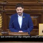Gabriel Rufián emociona a una diputada de otro partido con su sentido mensaje desde la