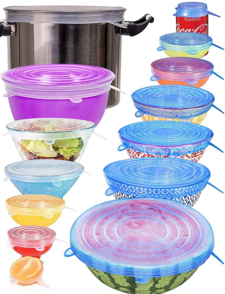 "From a can of soda to a bowl of chips, this&nbsp;<a href=""https://amzn.to/35jy169"" target=""_blank"" rel=""noopener noreferrer"">set of silicone stretch lids</a>&nbsp;can work when you've made a meal for yourself or after you entertain guests."