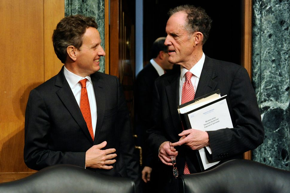 Kaufman (right) was a frequent critic of the approach taken by Tim Geithner (left), President Barack Obama's treasury secreta